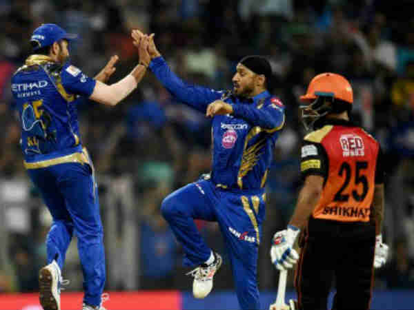 Mumbai Indians celebrate victory on their home soil over Hyderabad