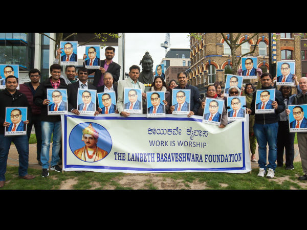 Dr BR Ambedkar's birth anniversary celebrated at Basaveshwara statue in London
