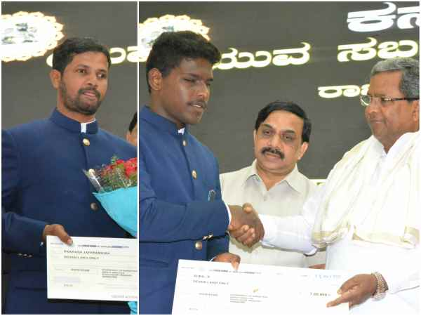 World cup winning blind cricketer felicitated by CM Siddaramaiah
