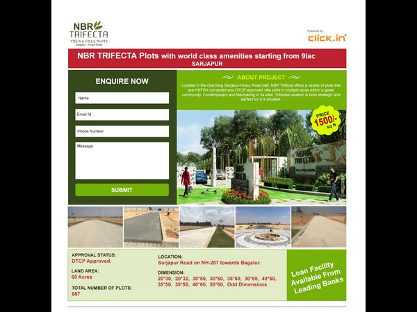 Nbr Trifecta Plots With World Class Amenities Starting From 9 Lac Sarjapur