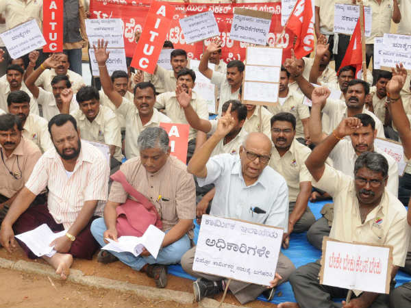 Protest in Mysuru against Shobha Karndlaje and B S Yeddyurappa