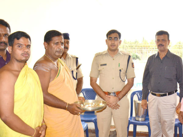 Shanti Puja at the police residential house at Beguru, Gundlupete