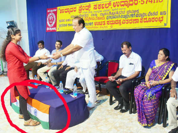 Minister Vinay Kumar Sorake insults National flag at Udupi