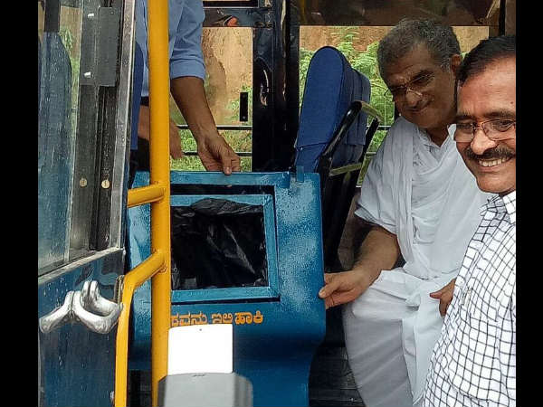 Dharmasthala Heggade To Implement Dustbins In Govt Buses