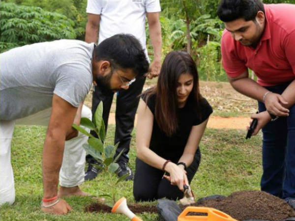 Anushka Sharma Virat Kohli Plant Sapling Together Sri Lanka