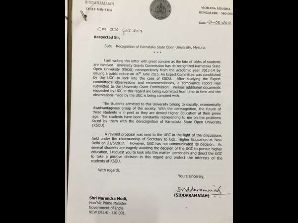 KSOU De-recognition: CM Siddaramaiah writes to PM Modi in intervene