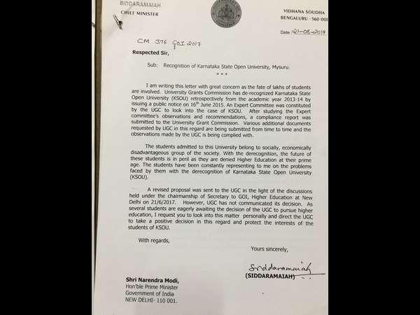Ksou De Recognition Cm Siddaramaiah Writes To Pm Modi In Intervene