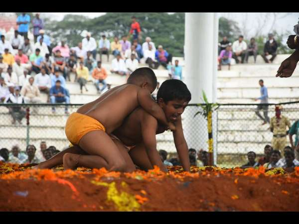The wrestling competition at Mysore