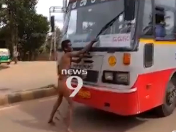 Mentally-challenged man creates ruckus by blocking traffic in Tumakuru