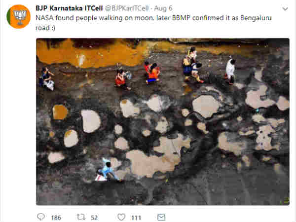 Karnataka BJP ITcell crates controversy by posting false picture of Bengaluru road