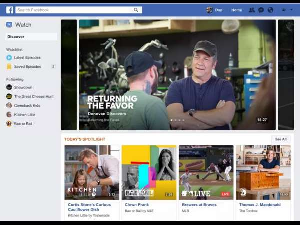 Competitor to YouTube, Facebook launches 'Watch'