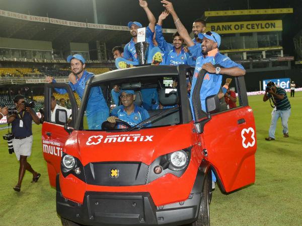 In Pics Dhoni Takes Team India A Joy Ride After Whitewashing Sri Lanka