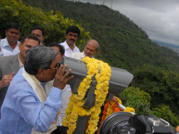 Cm Siddaramaiah Inaugurates Binocular View Point At Chamundi Hills Mysuru