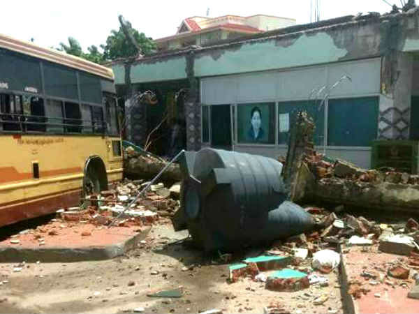 Coimbatore Somanur Bus Stand Roof Collapse Facebook Video