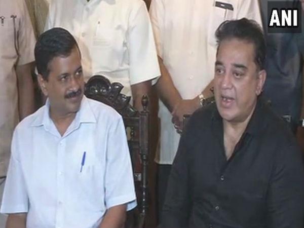 Kejriwal Meets Kamal Haasan In Chennai