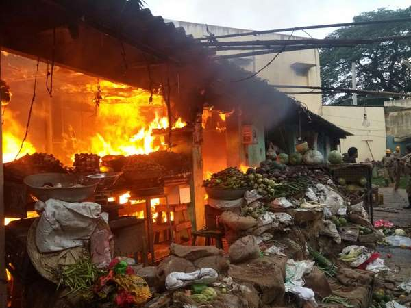Mysuru: Goods worth lakhs burnt in Agrahara fire accident