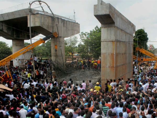 Two killed, 15 injured as under-construction flyover caves in
