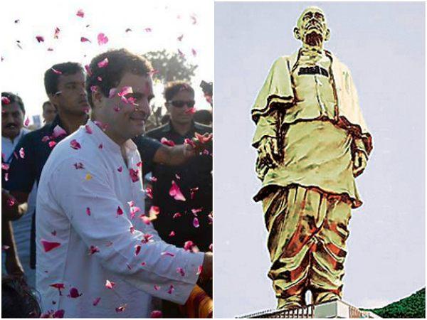 ಸರ್ದಾರ್ ಪಟೇಲ್ ಪ್ರತಿಮೆಯ ಮೇಲೆ ಮೇಡ್ ಇನ್ ಚೀನಾ, ಶೇಮ್: ರಾಹುಲ್
