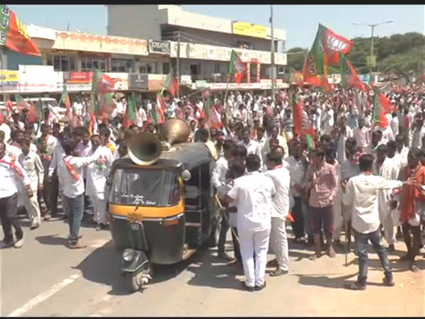 The BJP activists protest over electricity cuts in Yadagiri