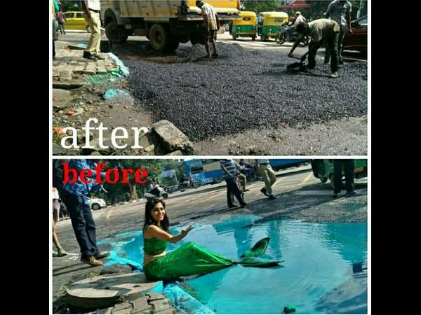 Marmaid In Bengaluru Pothole Bbmp Filled It Now