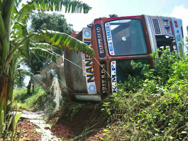 Lakhs Of Rupees Worth Milk Wasted After Lorry Topple