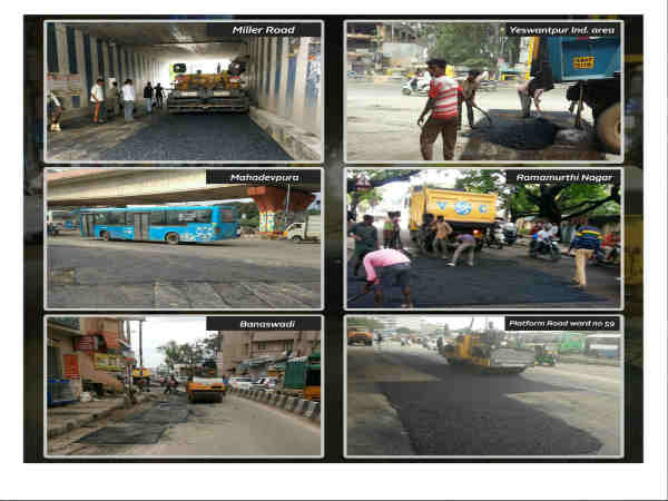 Bengaluru roads potholes filling work in full swing during late night