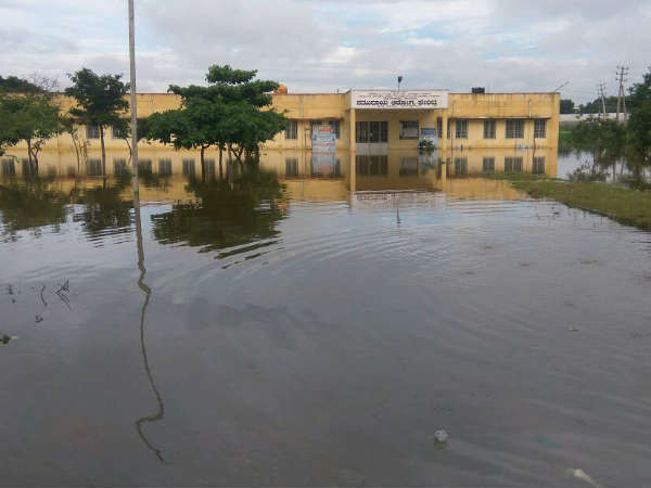 After heavy rain in the state a district hospital in Ramanagara is filled with water