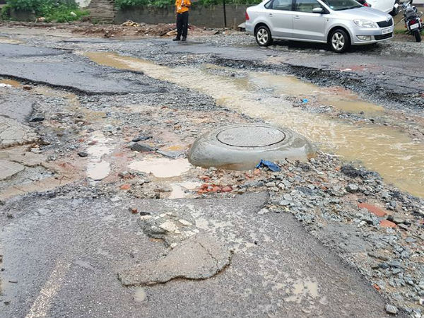 Road In Hsr Layout Near Vibgyor School Completely Damaged
