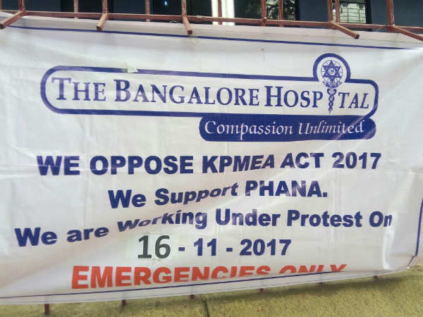 Karnataka Private Hospitals close today, as doctors protest against new medical bill.