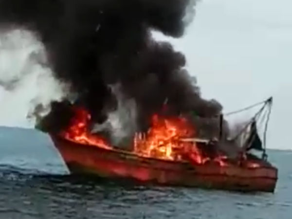 A fishing boat went up in flames in the Arabian Sea near Mangaluru