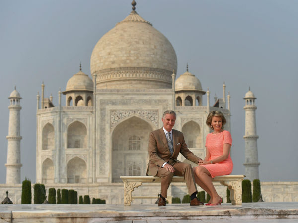 Belgian Royal Couple King Philippe And Queen Mathilde Pose In Front Of Taj Mahal
