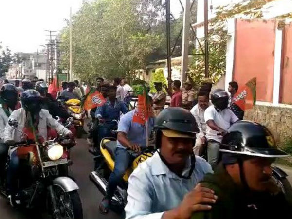 Bike Rally in Mysuru to support Parivartana Rally of BJP Karntaka