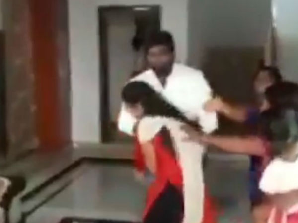 Viral Video Of Trs Leader Who Trashes His Former Wife In Public