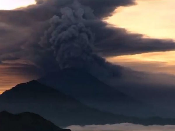 volcano in Bali, Indonesia, is erupting and spewing ash
