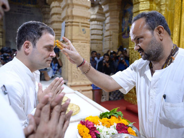 Rahul Gandhi offers prayers at Somnath Temple before election campaign