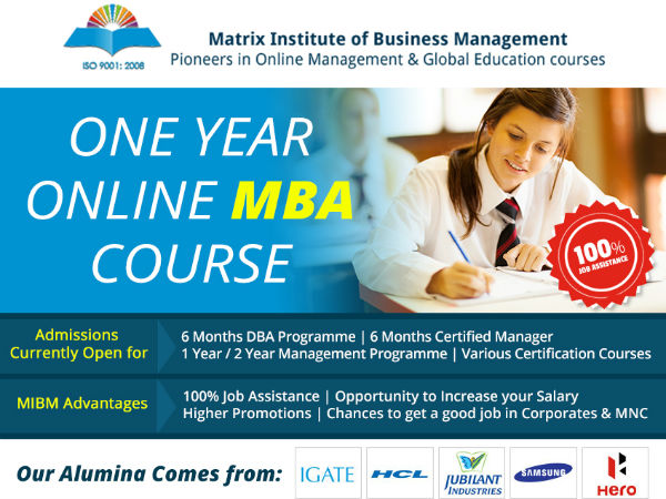 MIBM Global 1 year online MBA MBA course