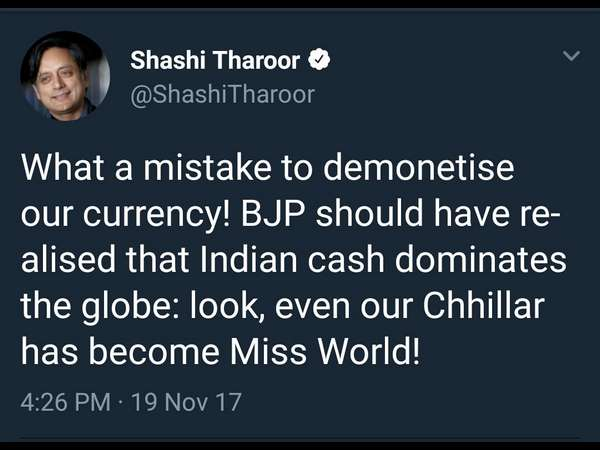 Women activists condemn Tharoor's tweet on Manushi Chhillar