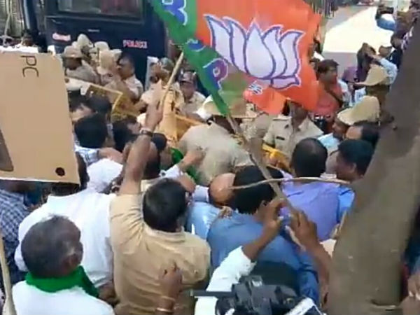 District congress faces Bjp protest now