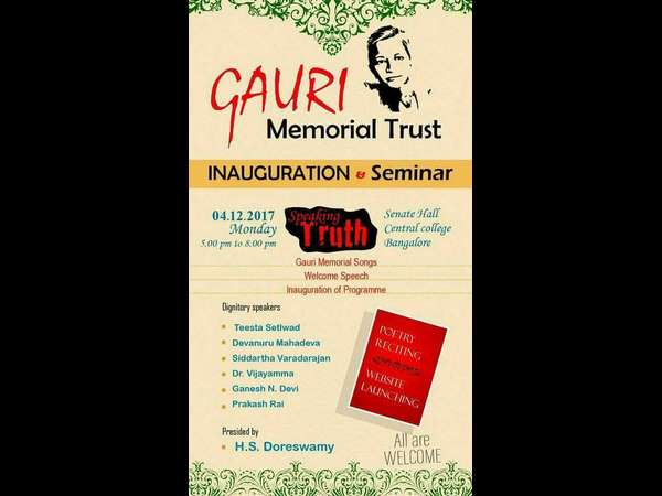Gauri Memorial trust will promote her ideology