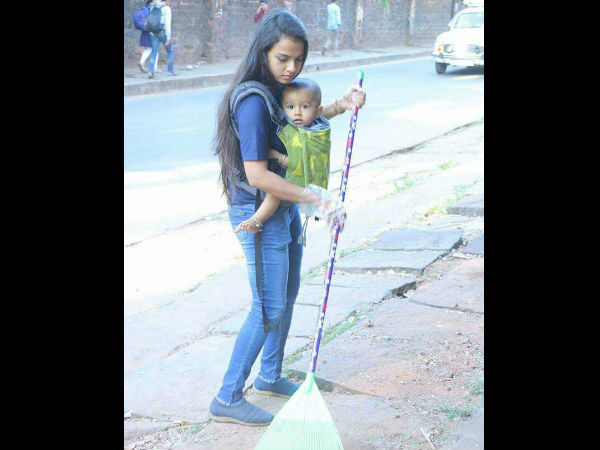 Couple involved in Swachha Mangaluru Abhiyan with oneyear old baby photo gone viral