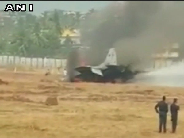 Fire on MiG-29K aircraft being extinguished at Goa airport today
