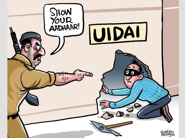 Cartoon By Satish Acharya On Aadhaar