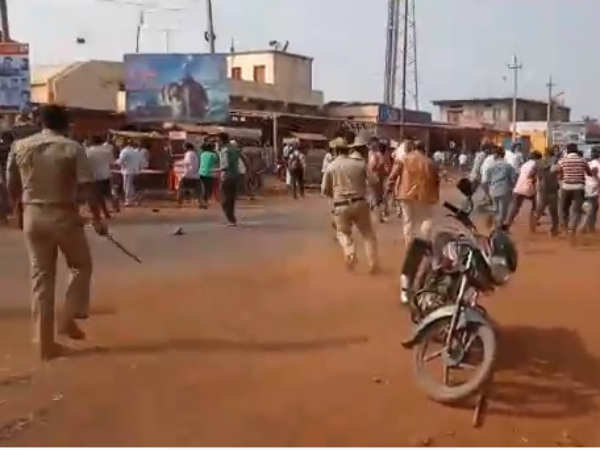 Police opens Lathi charge on Dalith protesters in Bidar.
