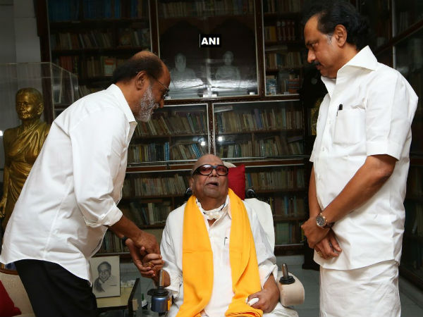 Rajinikanth met DMK chief Karunannidhi in his residence