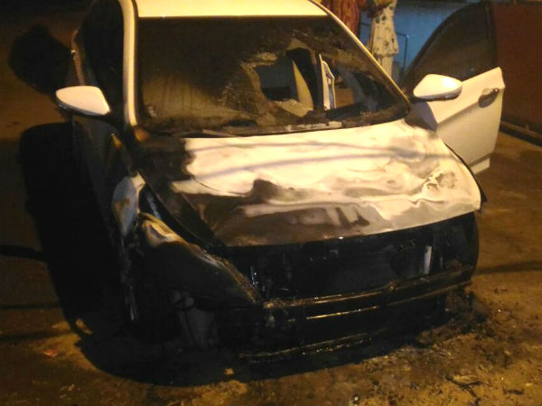 Seven Cars Set Fire In Belgaum Street