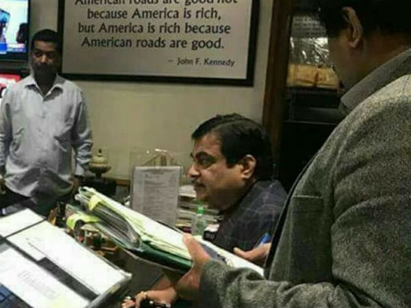 Highway minister Nitin Gadkari has unique board in his office
