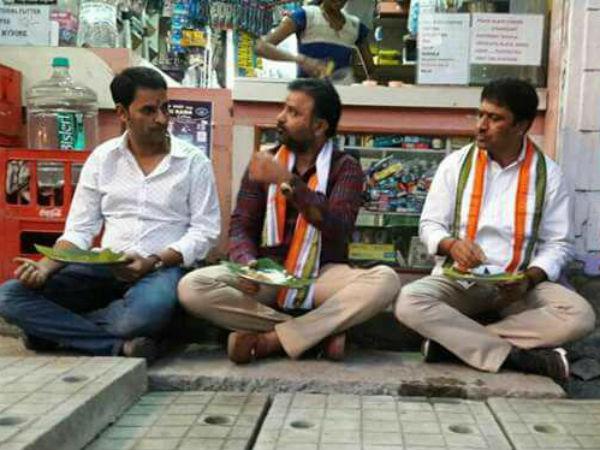 ಮೈಸೂರು : ಫುಟ್ಪಾತ್ನಲ್ಲಿ ದೋಸೆ ಸವಿದ ಸಂತೋಷ್ ಲಾಡ್