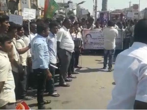 Bidar Bandh Stone Pelting On Police Van