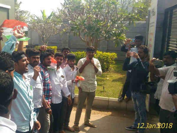 Protest Against Minister Ananth Kumar Hegde In Shivamogga