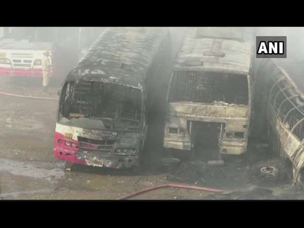 Ksrtc Bus Depot Accidentally Caught Fire 12 Bus Gutted